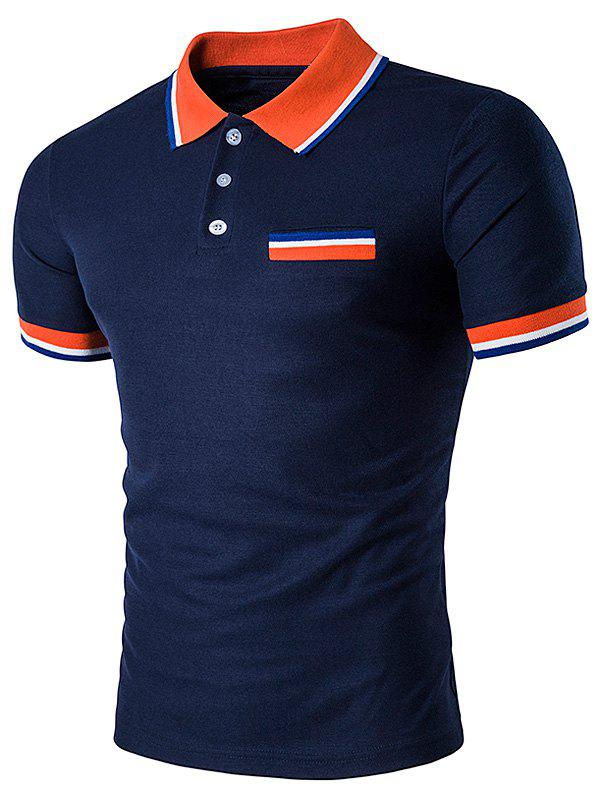 Hot Fake Pocket Striped Polo T-Shirt