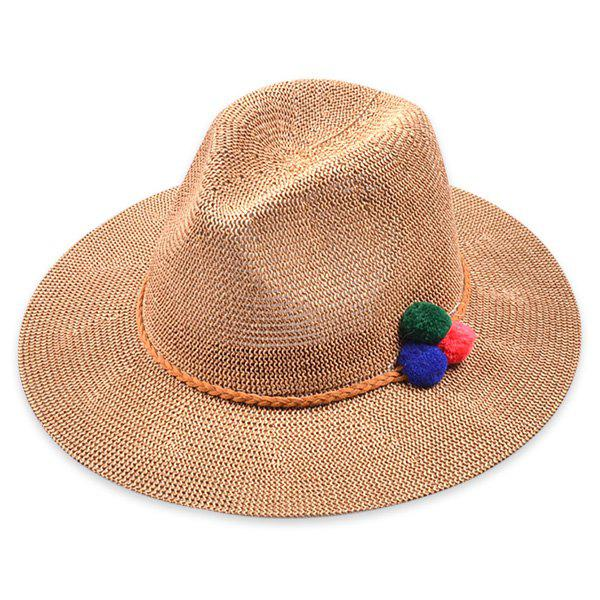 Sale Small Pompon Rope Embellished Straw Jazz Hat