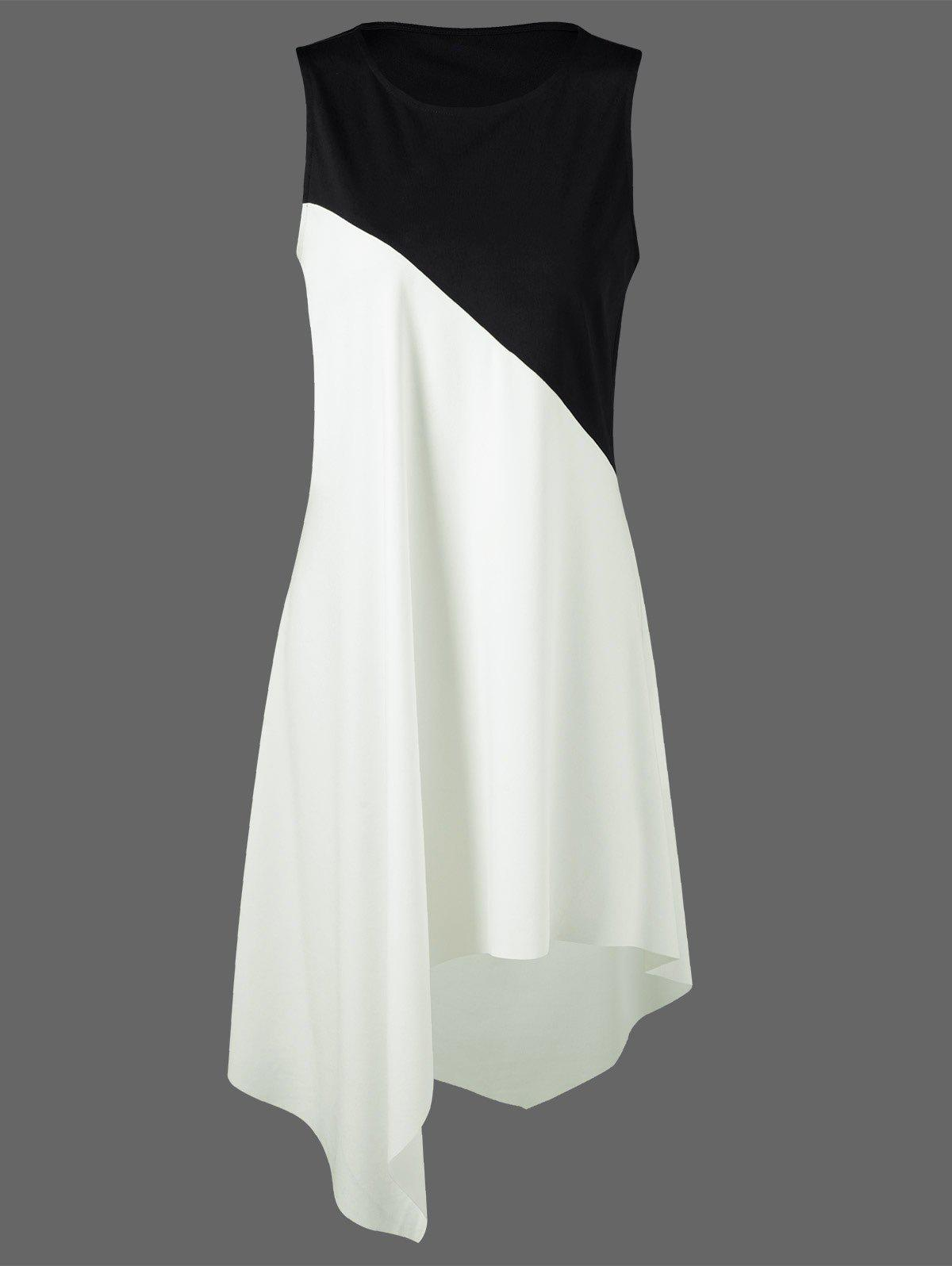 Color Block Swing Sleeveless Casual Dress BoutiqueWOMEN<br><br>Size: M; Color: WHITE AND BLACK; Style: Casual; Material: Polyester,Spandex; Silhouette: Asymmetrical; Dresses Length: Knee-Length; Neckline: Round Collar; Sleeve Length: Sleeveless; Pattern Type: Patchwork; With Belt: No; Season: Summer; Weight: 0.2500kg; Package Contents: 1 x Dress; Occasion: Causal,Going Out,Outdoor;