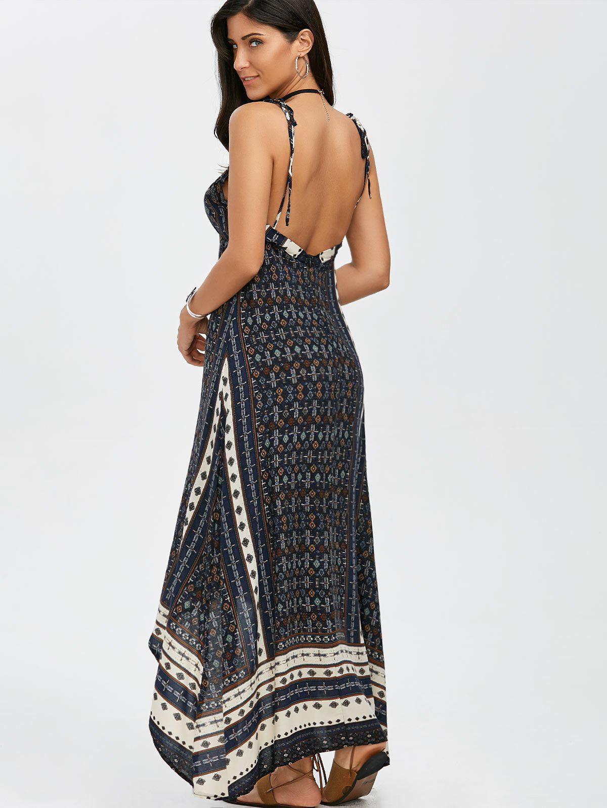 blue m maxi halter low back asymmetric summer dress