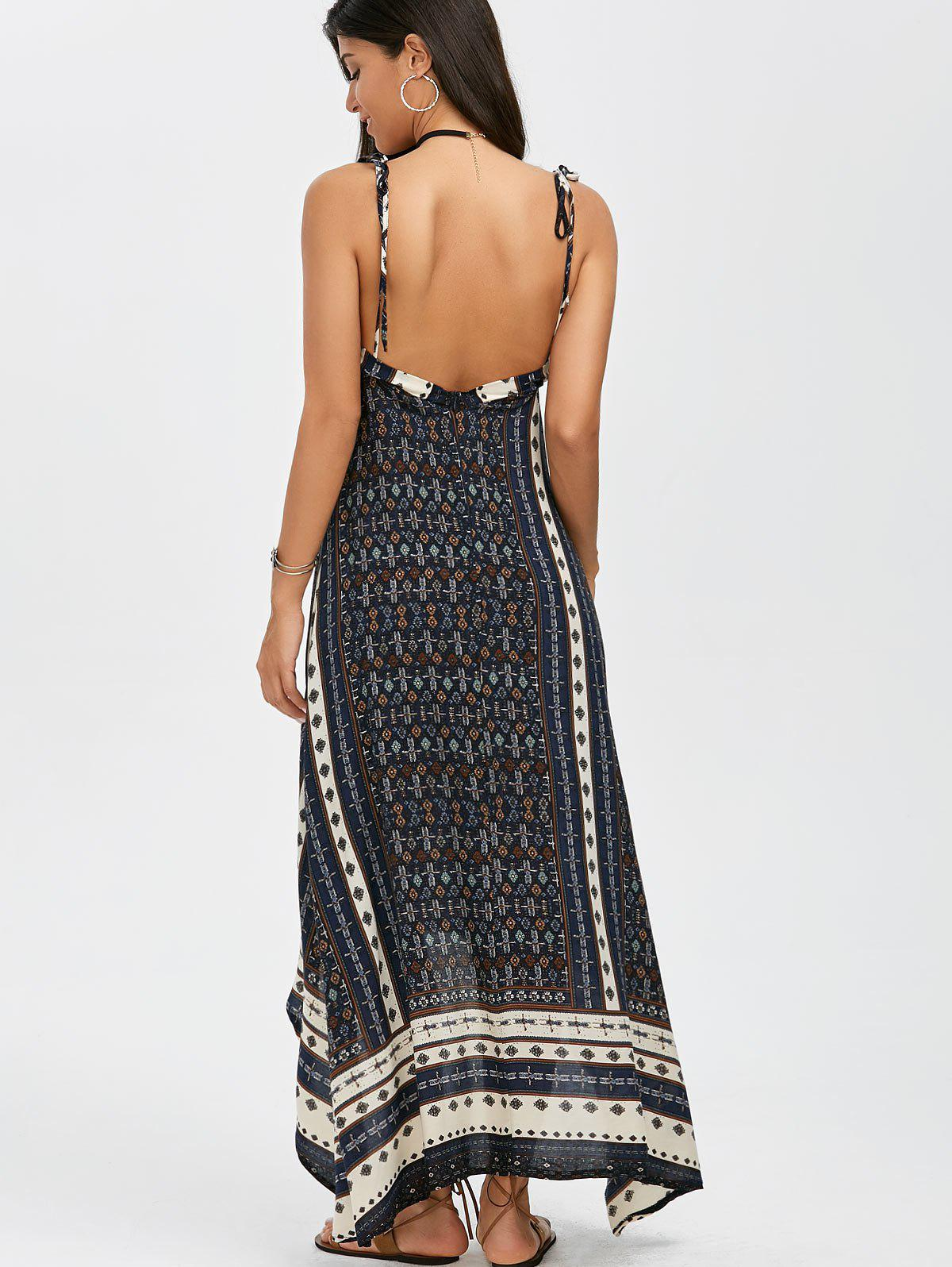 blue s maxi halter low back asymmetric summer dress