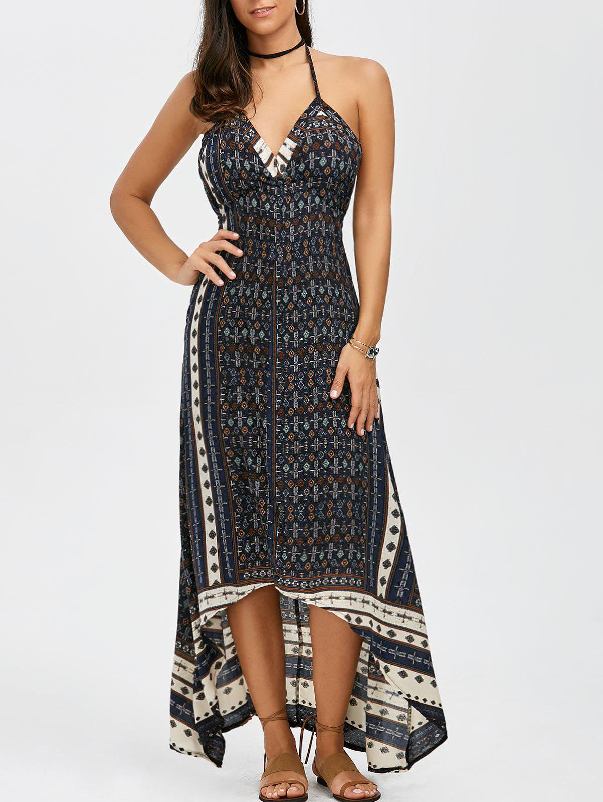 blue xl maxi halter low back asymmetric summer dress
