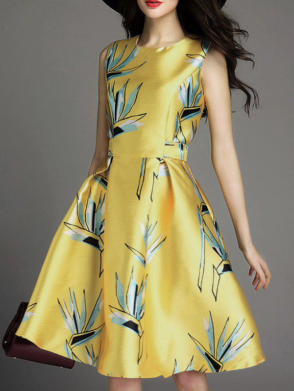 Hot Printed Sleeveless Pockets Flare Dress