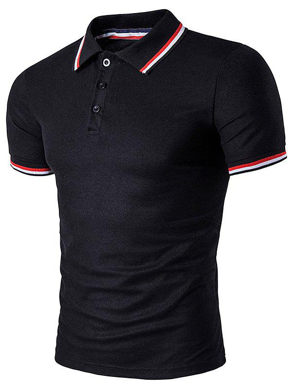 Polo T-Shirt with Striped Sleeve CollarMEN<br><br>Size: M; Color: BLACK; Material: Cotton Blends; Sleeve Length: Short; Collar: Turn-down Collar; Style: Casual; Pattern Type: Striped; Season: Summer; Weight: 0.2490kg; Package Contents: 1 x T-Shirt;