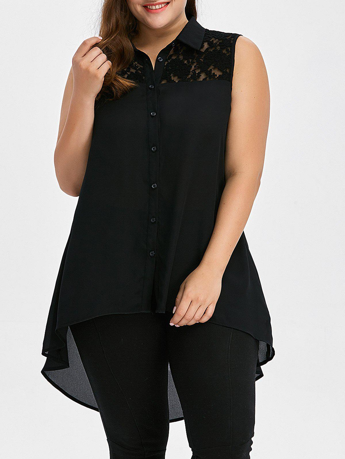 Plus Size Lace Insert High Low TopWOMEN<br><br>Size: 5XL; Color: BLACK; Material: Polyester; Shirt Length: Long; Sleeve Length: Sleeveless; Collar: Shirt Collar; Style: Fashion; Season: Summer; Pattern Type: Patchwork; Weight: 0.3500kg; Package Contents: 1 x Tank Top;