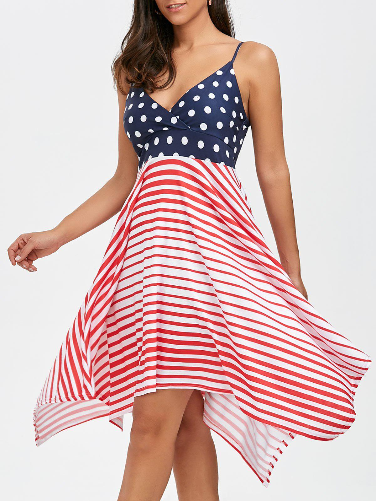 New Bohemian Polka Dot Stripe Asymmetrical Slip Dress