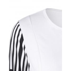 Striped Henley T-Shirt - WHITE/BLACK XL
