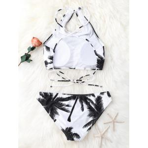 High Neck Palm Tree Push Up Bikini Bathing Suit - WHITE AND BLACK L