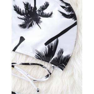 High Neck Palm Tree Push Up Bikini Bathing Suit - WHITE/BLACK L