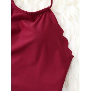High Cut Halter Scalloped One Piece Swimsuit - WINE RED XL
