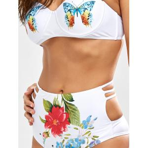 Cut Out High Waisted Bikini With Halter Top - WHITE L