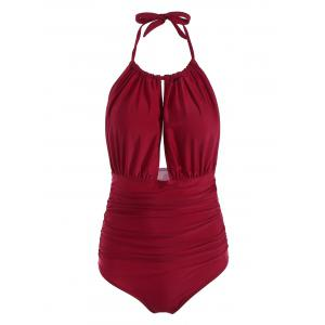 Halter High Waisted One Piece Swimsuit - Wine Red - S