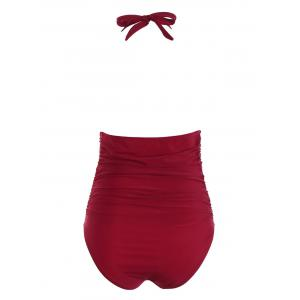 Halter High Waisted One Piece Swimsuit - WINE RED M