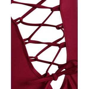 String Lace Up One Piece Swimsuit - WINE RED S