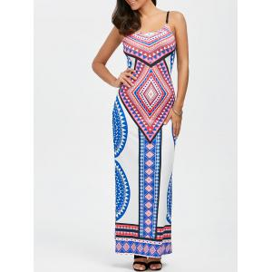 Maxi Bohemian Geometrical Print Open Back Floor Length Slip Dress