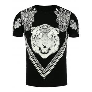 Tiger and Paisley Print T-Shirt - Black - 3xl