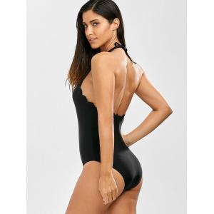 Halter Scalloped One Piece Bathing Suit - BLACK XL