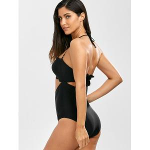 Scalloped Cut Out One Piece Swimsuit - BLACK XL