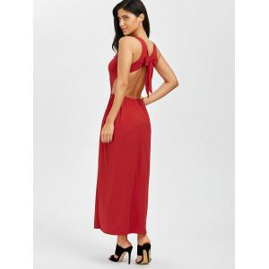 Maxi Plunge Backless Slit Cut Out Dress -