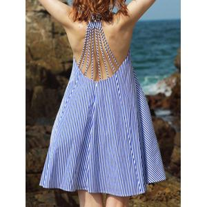 Strappy Striped Backless Casual Cute Dress - Blue - 2xl