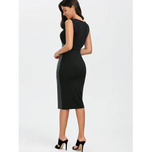 Faux Leather Panel Midi Fitted Tight Dress - BLACK L