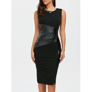 Faux Leather Panel Bodycon Midi Fitted Tight Dress - Black - L