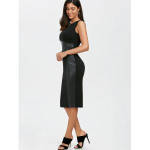 Faux Leather Panel Long Sheath Midi Fitted Tight Dress - BLACK XL