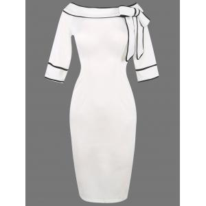 Boat Neck Bowknot Embellished Bodycon Dress