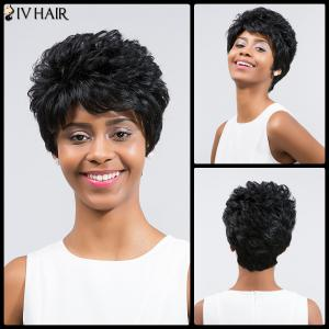 Siv Hair Short Layered Inclined Bang Curly Human Hair Wig