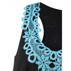 Applique Racerback Tank Top - BLUE AND BLACK XL