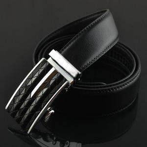 Argyle Carve Metal Buckle Artificial Leather Belt -