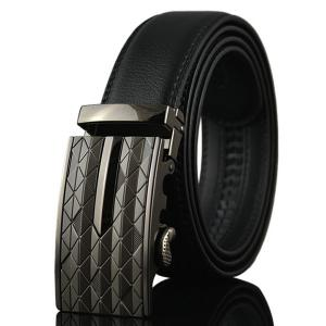 Argyle Carve Metal Buckle Artificial Leather Belt - Gun Metal