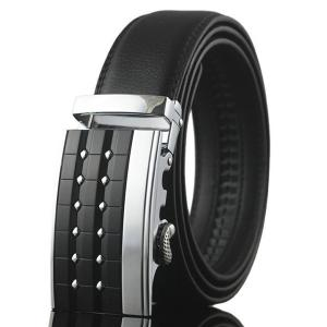 Carve Rectangle Metal Buckle Faux Leather Belt - Silver