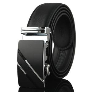 Diagonal Stripe Automatic Buckle Artificial Leather Belt - Silver