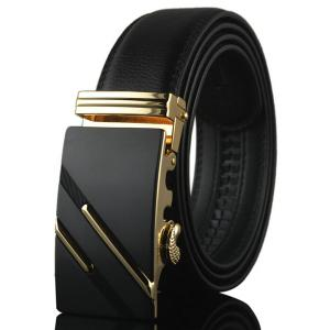 Diagonal Stripe Automatic Buckle Artificial Leather Belt - Golden