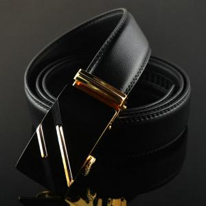 Diagonal Stripe Automatic Buckle Artificial Leather Belt -