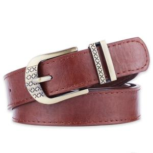 Metallic Engraved Pin Buckle Faux Leather Bet - Coffee