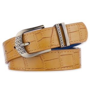 Metallic Engraved Pin Buckle Faux Leather Bet