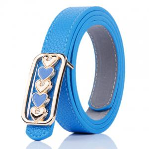 Tiny Heart Plate Buckle Faux Leather Belt - Blue