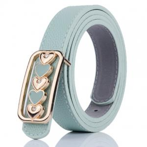 Tiny Heart Plate Buckle Faux Leather Belt - Light Green - 38