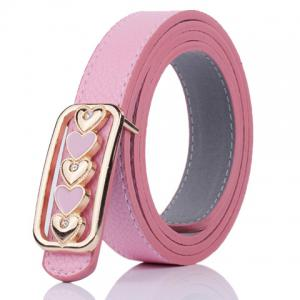 Tiny Heart Plate Buckle Faux Leather Belt - Light Pink - 39