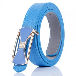 Hollow Out Bowknot Plate Buckle Wide Leather Belt - Blue