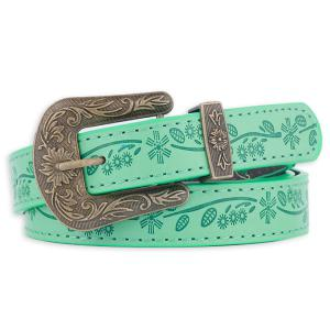 Floral Emboss Pin Buckle Faux Leather Waist Belt - Green - 38