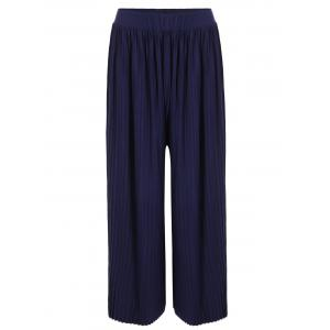 High Waisted Pleated Palazzo Pants - Blue - One Size