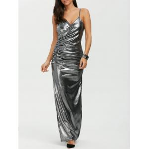 Maxi Slit Floor Length Slip Metallic Formal Dress