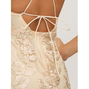 Backless Halter Robe club avec Lurex Embroideried - Or M
