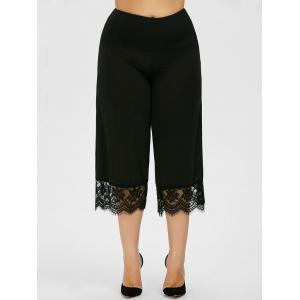 Lace Trim Plus Size Capri Palazzo Pants - Black - 4xl
