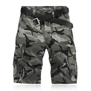 Camouflage Pattern Straight Legs Cargo Shorts - Camouflage Gray - 34
