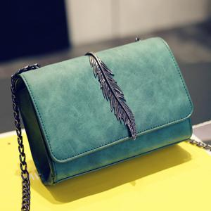 Metal Leaf Chains Crossbody Bag - GREEN HORIZONTAL
