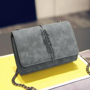 Metal Leaf Chains Crossbody Bag - GRAY HORIZONTAL